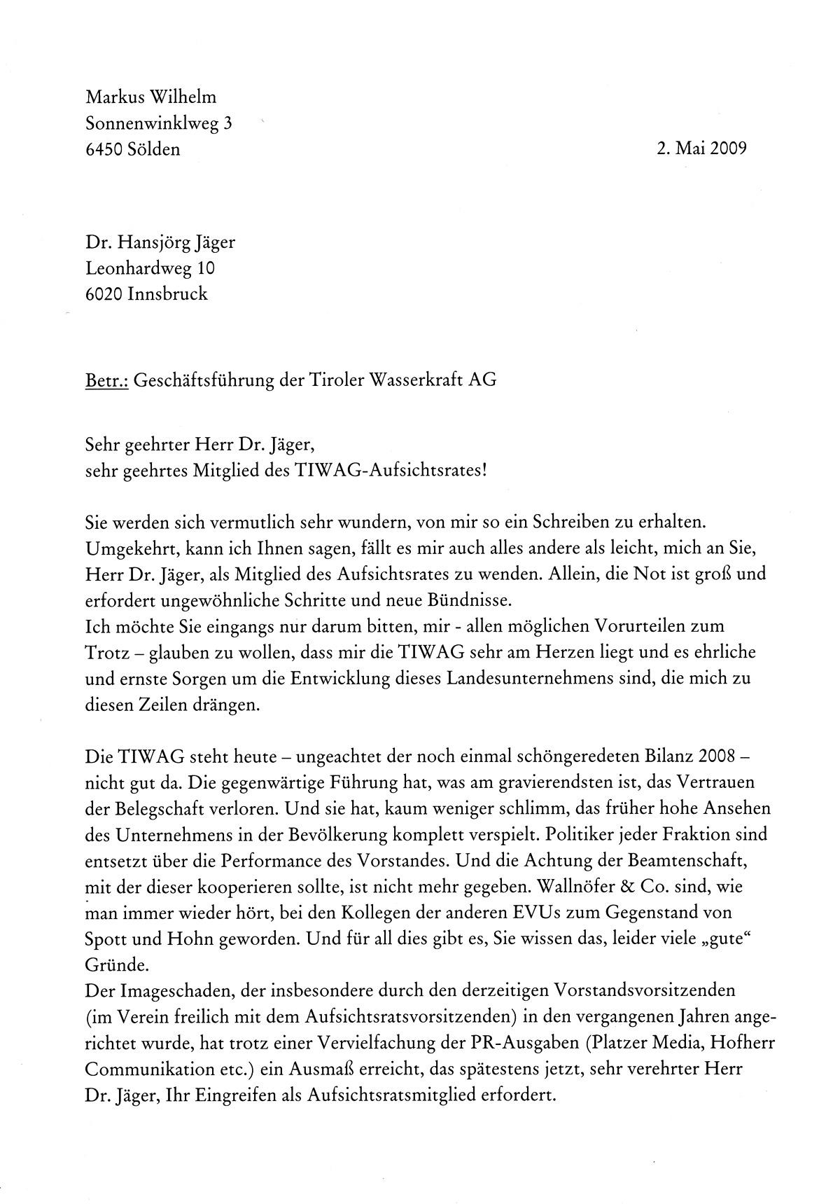 Briefe Mit Vermerk Persönlich : Die tiwag aufsichtsrat zum quot fall wallnöfer